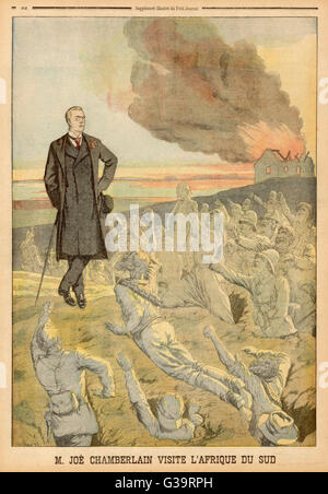 JOSEPH CHAMBERLAIN  Liberal MP visiting  South Africa, and  blamed by the French for loss of life during  the Boer - Stock Photo