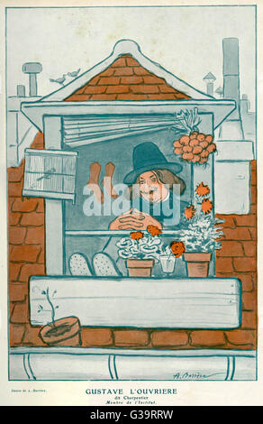 GUSTAVE CHARPENTIER  French composer at the window of his garret       Date: 1860 - 1956 - Stock Photo