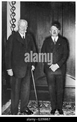 PAUL VON HINDENBURG  With Adolf Hitler in the early 1930s       Date: 1847 - 1934 - Stock Photo