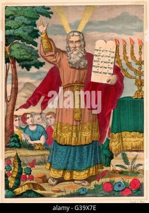 Moses, Hebrew prophet and lawgiver, with the Ten Commandments.     Date: 14-13th century BC - Stock Photo