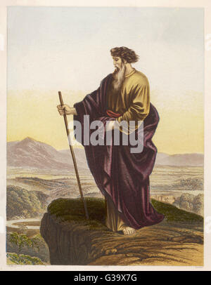 MOSES  Hebrew prophet and lawgiver  views the Promised Land  from Mount Nebo      Date: 14TH-13TH CENTURY BC - Stock Photo