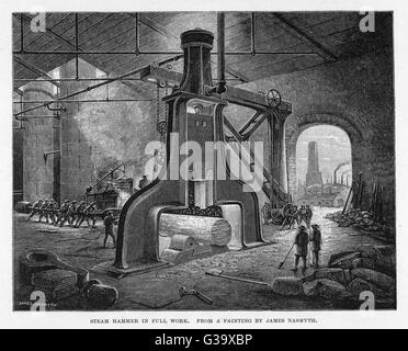 Interior of factory showing  Nasmyth's steam hammer in  action - Stock Photo