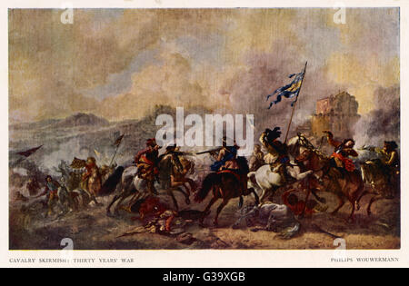 General battle scene : a cavalry skirmish         Date: 1618 - 1648 - Stock Photo