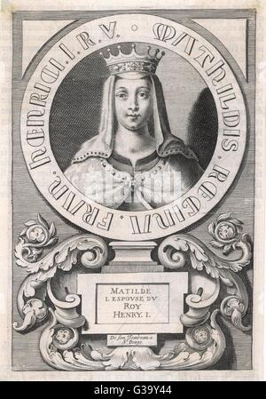 MATILDA (MAUD) OF SCOTLAND  Daughter of Malcolm III of  Scotland; 1st wife (m. 1100)  of Henry I of England. She - Stock Photo