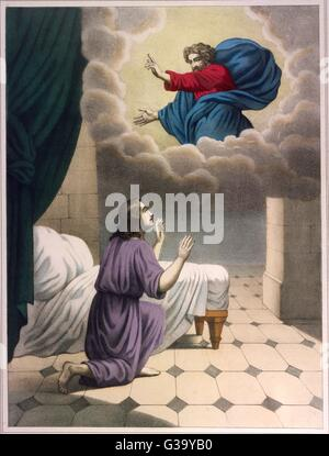 God appears to the young  Samuel and tells him of the  destiny which awaits him - Stock Photo
