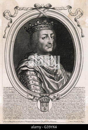 CHARLES VII THE VICTORIOUS KING OF FRANCE  Portrait in an oval frame.       Date: 1403 - 1461 - Stock Photo