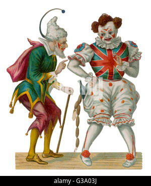 Two clowns, one wearing a  Union Jack top and has a  string of sausages in his  pocket.   late 19th century - Stock Photo