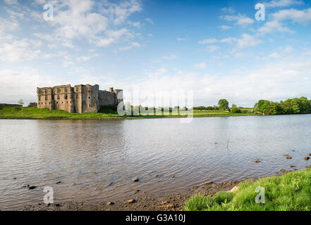 The castle at Carew in Pembrokeshire in Wales - Stock Photo