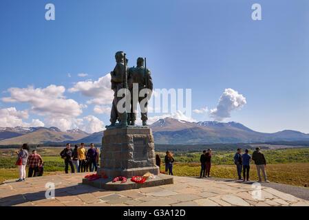 Tourists at the Commando Memorial. Spean Bridge, Argyllshire, Scotland. - Stock Photo