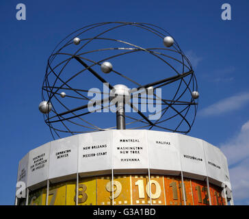 The Weltzeituhr, World Time Clock in Alexanderplatz, Mitte, Berlin, Germany. - Stock Photo