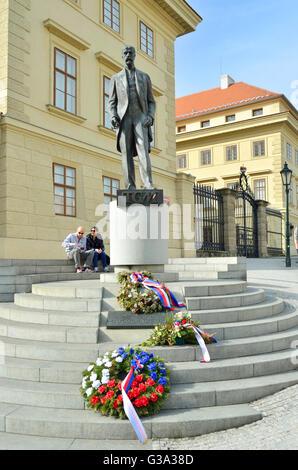 Prague, Czech Republic. Memorial to Tomáš Garrigue Masaryk (1850-1937: First President of Czechoslovakia) Hradcanské - Stock Photo