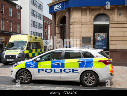 Trouble at the RBS Bank in Fishergate and Friargate in the Central Business District of the north western Lancashire - Stock Photo
