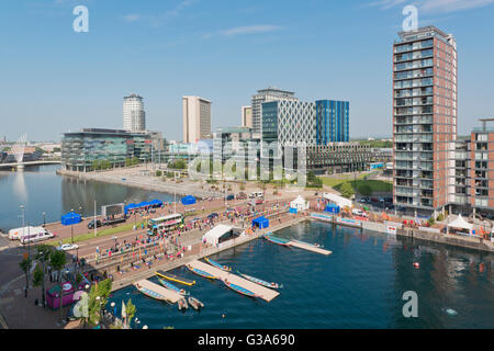MediaCityUK, whose tenants list the BBC, ITV, Granada, located in the Salford Quays area of Greater Manchester. - Stock Photo