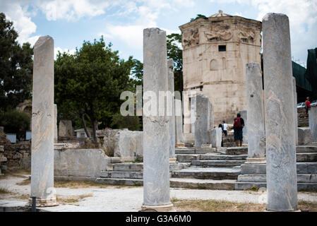 ATHENS, Greece - The Horologion of Andronikos of Kyrrhos (also known as the Tower of the Winds) is a work by architect - Stock Photo