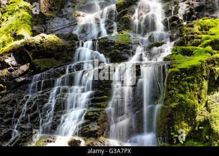 41,794.08035 waterfalls water cascading down a green mossy stair step like rock cliff - Stock Photo