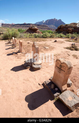 Headstones in the historic Grafton Cemetery, Grafton, Utah. - Stock Photo