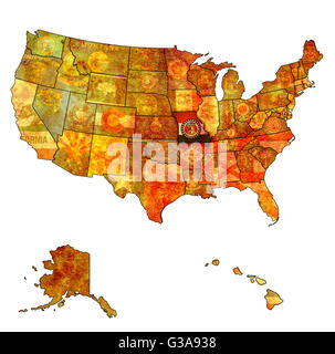Missouri State MAp And Flag Stock Vector Art Illustration - Missouri in usa map