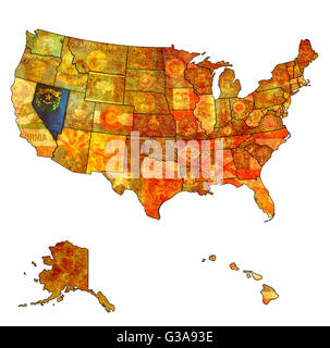 Nevada State Political Map Stock Photo Royalty Free Image - Nevada usa map