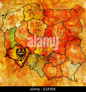 lower silesian region on administration map of poland with flags of other polish provinces and administrative divisions - Stock Photo
