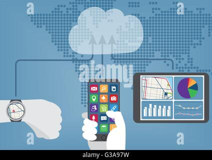 Cloud computing concept with connected mobile devices synchronizing data to the cloud. - Stock Photo