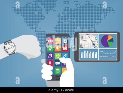 Mobile computing everywhere concept with hand holding smart phone, smart watch and tablet. - Stock Photo