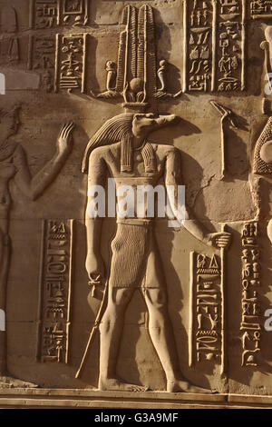 Sobek, ancient egyptian deity with crocodile head, relief in Temple of Kom Ombo, Egypt - Stock Photo