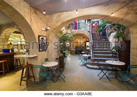 Spain, Catalonia, Barcelona, Princesa Market, Entry hall of the market - Stock Photo