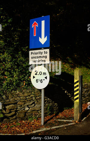 Road sign warning about priority to oncoming vehicles. - Stock Photo