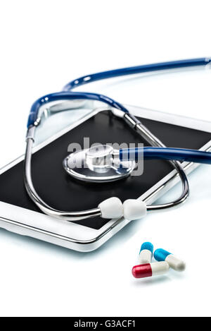 Medical Research,digital tablet and stethoscope, doctor workplace - Stock Photo