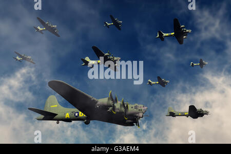 A Formation Of Boeing B-17 Flying Fortress Bombers. - Stock Photo