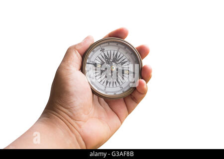 compass on hand man isolated white with clipping path. - Stock Photo