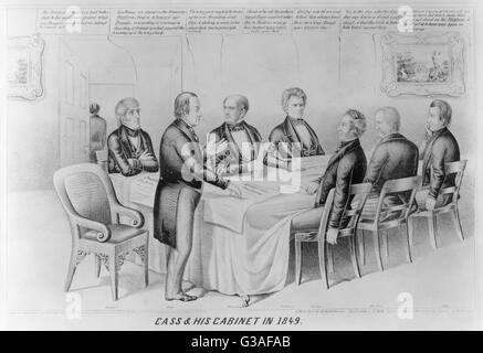 Cass & his cabinet in 1849. The satire imputes to the Democrats of 1848, led by candidate Lewis Cass, the corrupt - Stock Photo