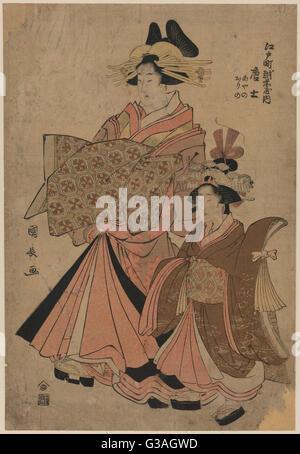 The courtesan Morokoshi of the house of Ichizen on Edocho. Print shows the courtesan Morokoshi, full-length portrait, - Stock Photo
