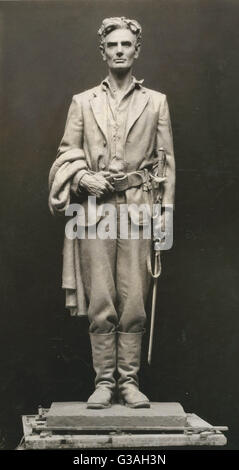 Sculpture of Abraham Lincoln, full-length, standing, facing front, as captain in the militia, ca. 1832. Photo shows - Stock Photo