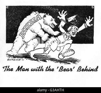 'The Man with the Bear Behind'    The Russian bear ends Adolf Hitler packing on this propaganda illustration on - Stock Photo