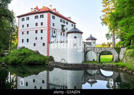 Sneznik Castle, a picturesque 13th-century castle located in Loska Dolina, Slovenia - Stock Photo