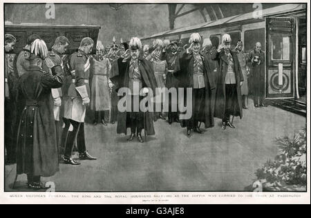 Queen Victoria's funeral:  King Edward VII, (left) chief mourner, German Emperor Kaiser Wilhelm II, (middle) and - Stock Photo