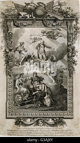 Captain James Cook (1728-1779), explorer.  An allegory, showing Neptune raising him up to Immortality, a Genius - Stock Photo
