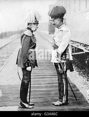A meeting between Franz Josef of Austria and Kaiser Wilhelm II of Germany, prior to the outbreak of World War I. The two Kaisers were close allies, bound by the Dual Alliance of 1879.     Date: c. 1914