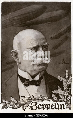 Ferdinand Adolf Heinrich August Graf von Zeppelin (1838-1917), also known as Count Zeppelin, German general, aviator - Stock Photo