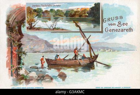 Sea of Galilee - inset view of River Jordan, Israel.     Date: circa 1898 - Stock Photo