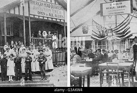 Exterior and interior views of the Eagle Hut in Aldwych, London. The YMCA supplied British servicemen away from - Stock Photo