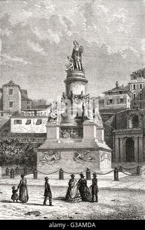 Christopher Columbus (1446-1506) - Italian explorer, navigator, and colonizer. Monument to the explorer at Genoa. - Stock Photo