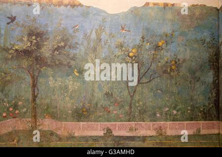 Painted Garden of the Villa of Livia, 20-30 BC, with birds and apple trees, Palazzo Massimo alle Terme, National - Stock Photo