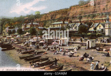 The Beach at Shanklin, Isle of Wight, Hampshire, England     Date: circa 1909 - Stock Photo