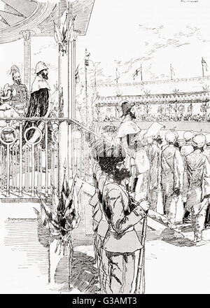 The Viceroy of India, Robert Bulwer-Lytton, 1st Earl of Lytton, proclaiming Queen Victoria Empress of India, Delhi, - Stock Photo