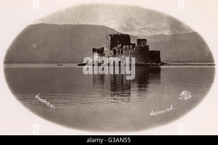 Nafplio (Nauplion), Greece - The castle of Bourtzi, located in the middle of the harbour of Nafplio. The Venetians - Stock Photo