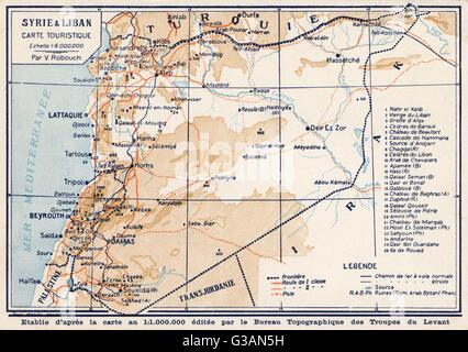 Syria and Lebanon - Tourist Map.     Date: circa 1910s - Stock Photo