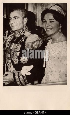 Shah of Iran (Persia) Mohammad Reza Pahlavi (1919-1980) marries his third wife, Farah Pahlavi (formerly Farah Diba) - Stock Photo