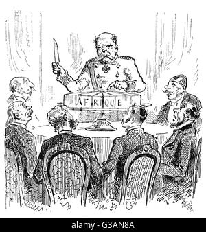 French commentary on the Berlin Conference of 1884-1885: Otto von Bismarck, then Chancellor of Germany, is portrayed - Stock Photo